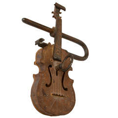 Whimsical Violin Iron Lock and Key