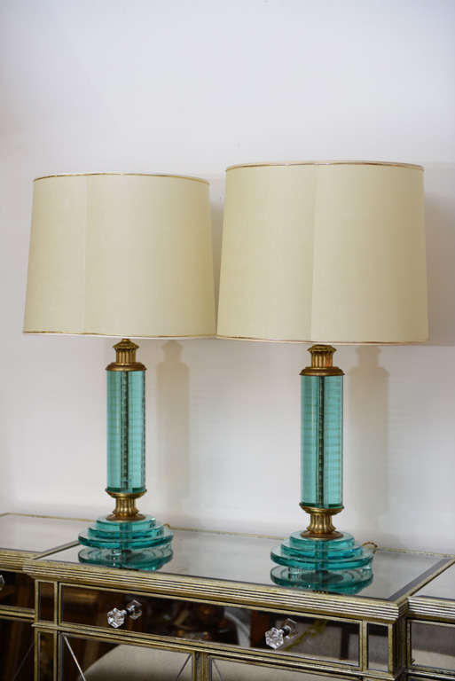 Very striking pair of Italy green glass lamps with bronze fittings.