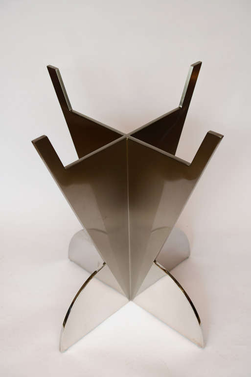 Stunning Polished And Matte Stainless Steel Arrowhead Table Base Sold With A 54