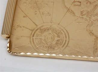 Gold Anodized Aluminum Repoussé Map Tray by Arthur Armour image 2