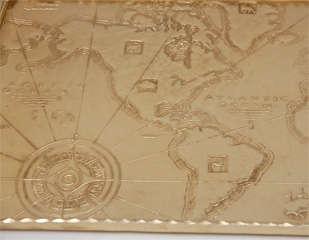 Gold Anodized Aluminum Repoussé Map Tray by Arthur Armour image 3