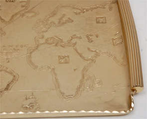 Gold Anodized Aluminum Repoussé Map Tray by Arthur Armour image 4