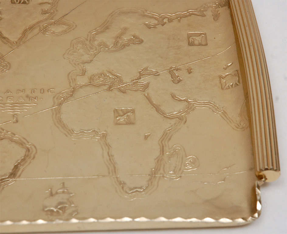Gold Anodized Aluminum Repoussé Map Tray by Arthur Armour In Excellent Condition For Sale In Los Angeles, CA