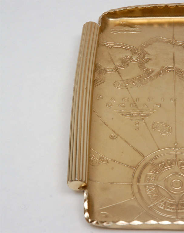 Mid-20th Century Gold Anodized Aluminum Repoussé Map Tray by Arthur Armour For Sale