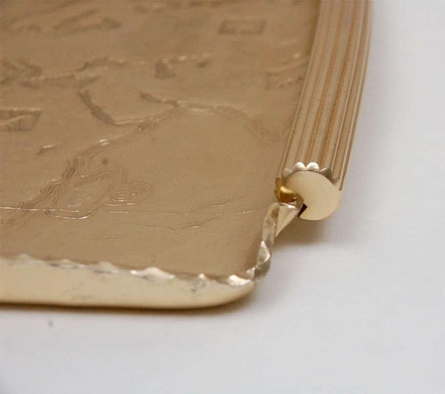 Gold Anodized Aluminum Repoussé Map Tray by Arthur Armour 6