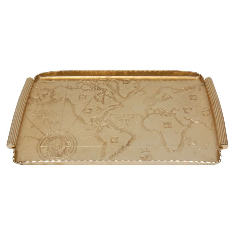 Gold Anodized Aluminum Repoussé Map Tray by Arthur Armour