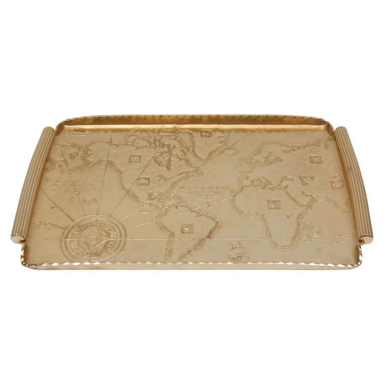 Gold Anodized Aluminum Repoussé Map Tray by Arthur Armour