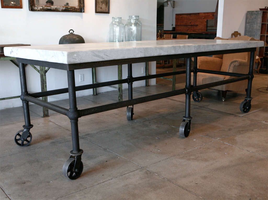 Massive Carrera Slab Top Kitchen Table, New England image 2