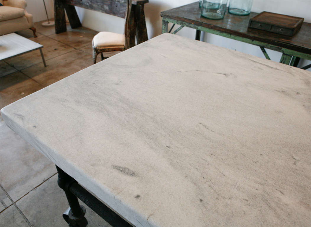 Massive Carrera Slab Top Kitchen Table, New England image 4
