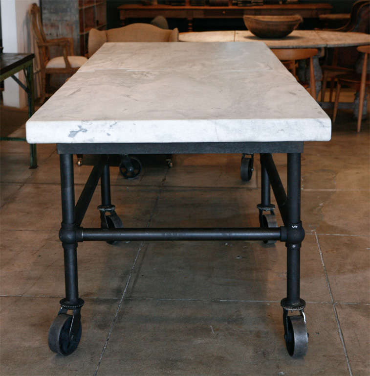 Massive Carrera Slab Top Kitchen Table, New England image 9