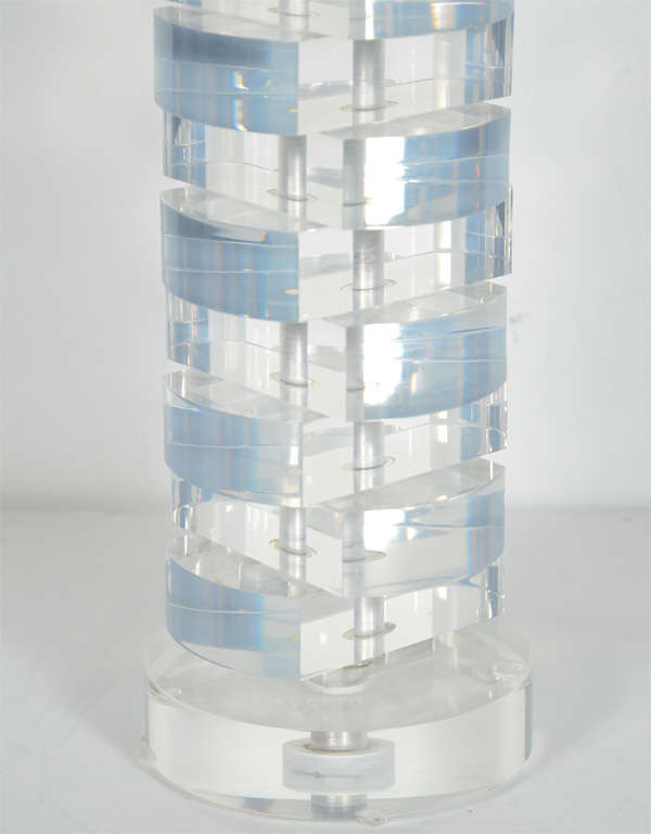 American Mid-Century Modern Stacked Lucite Block Lamp For Sale