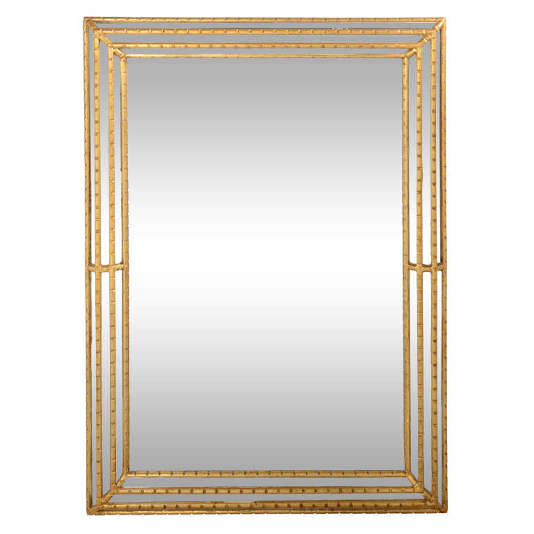 Elegant Neoclassic Gold Leaf Mirror With Hand Carved