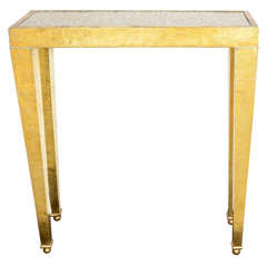Exotic Ostrich Eggshell and Hand Forged Brass Metal Console Table