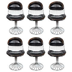 Set of Six Modernist Sculptural Chrome and Vintage Leather Dining Chairs