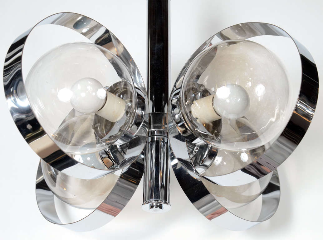 glass orb lighting. 20th Century Modernist Orb Chandelier With Spherical Design In Chrome And Smoked Glass For Sale Lighting
