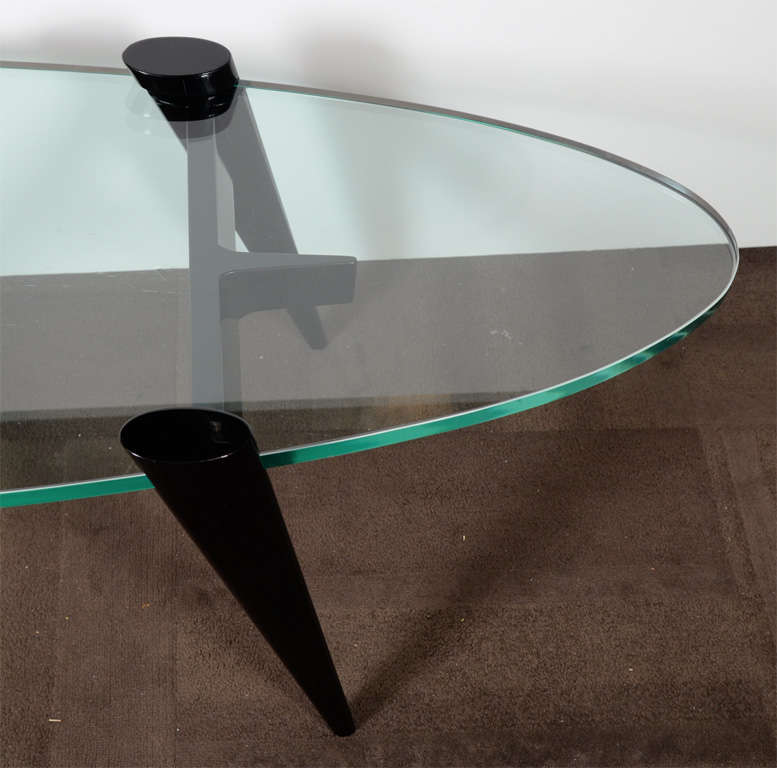 Mid-20th Century Mid-Century Modern Narrow Elliptic Coffee Table with Tapered Legs For Sale