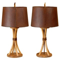 Surviving Pair of Rattan Lamps in the Style of Paul Frankl