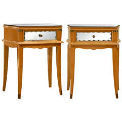 Stellar Pair of Art Deco End Tables with Mirror and Brass Accents