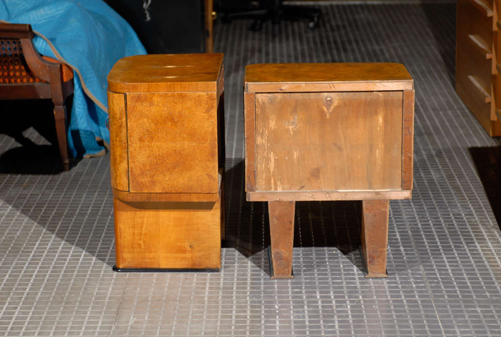 20th Century Exquisite Restored Pair Of Art Deco Small Cabinets In Walnut For Sale
