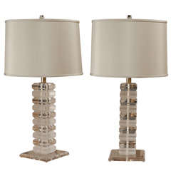 Georgeous Pair of Stacked Lucite Lamps in the Style of Karl Springer