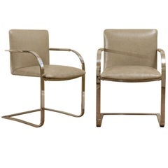 Pair of Milo Baughman Flat Bar Armchairs in Leather