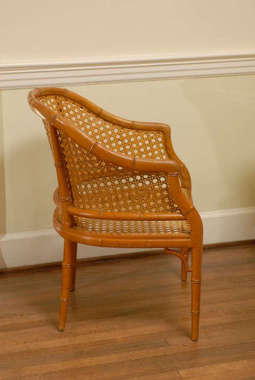 Great Pair Of Vintage Baker Cane Barrel Back Chairs. Warm Color, Excellent  Form.