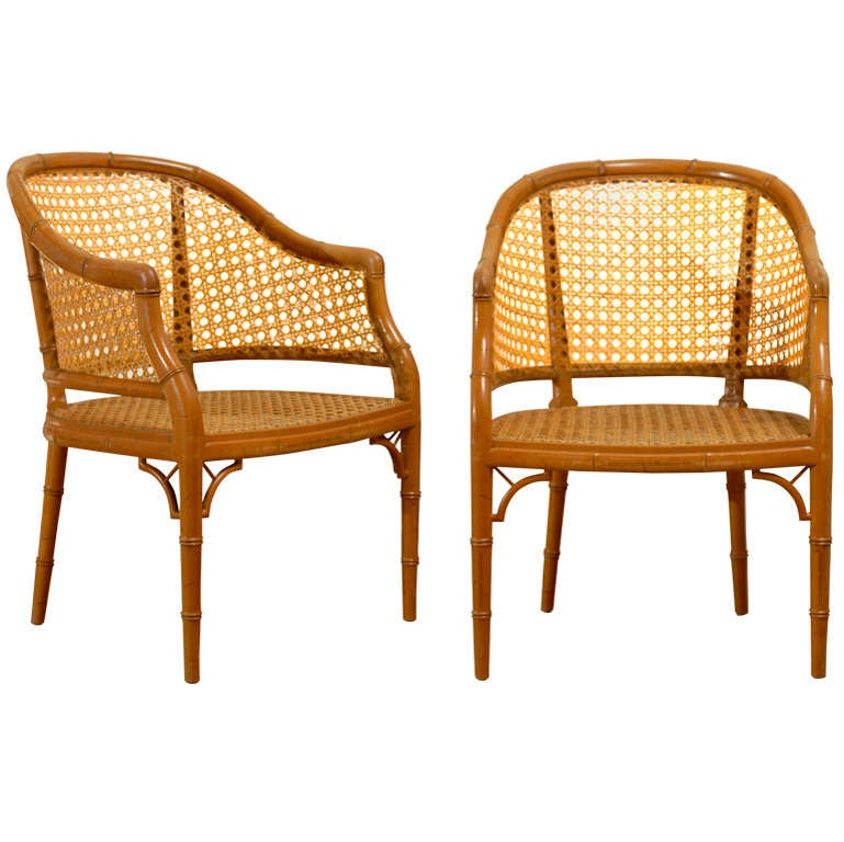 Vintage Baker Faux Bamboo Barrel Back In Cane 4 Available At 1stdibs