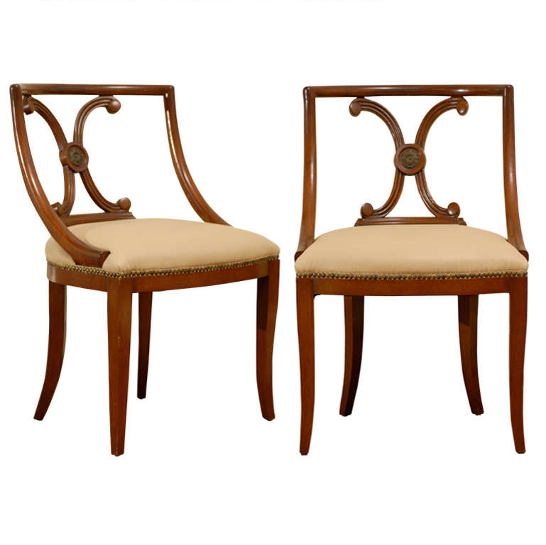 Incroyable Pair Of Neoclassical Italian Side Chairs