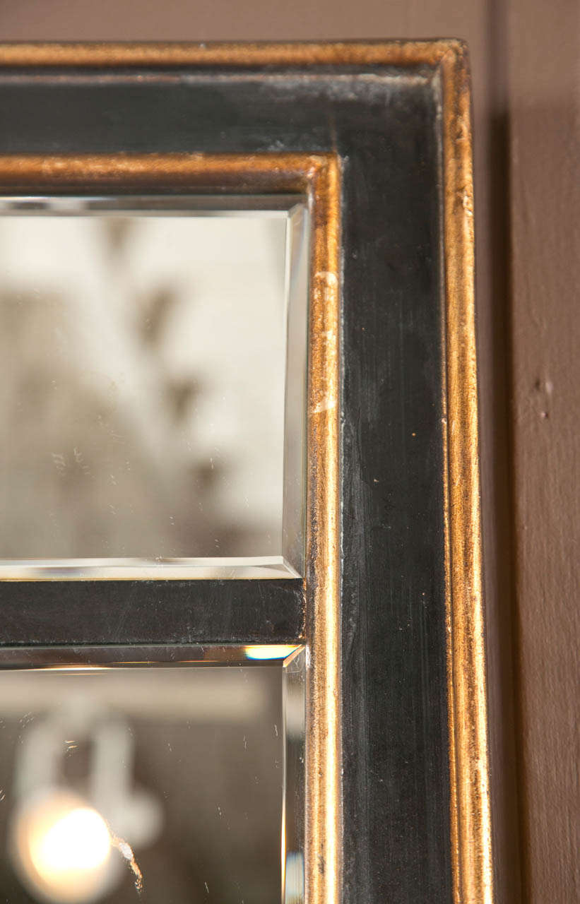 Pair Of Modern Black And Gilt Windowpane Mirrors With