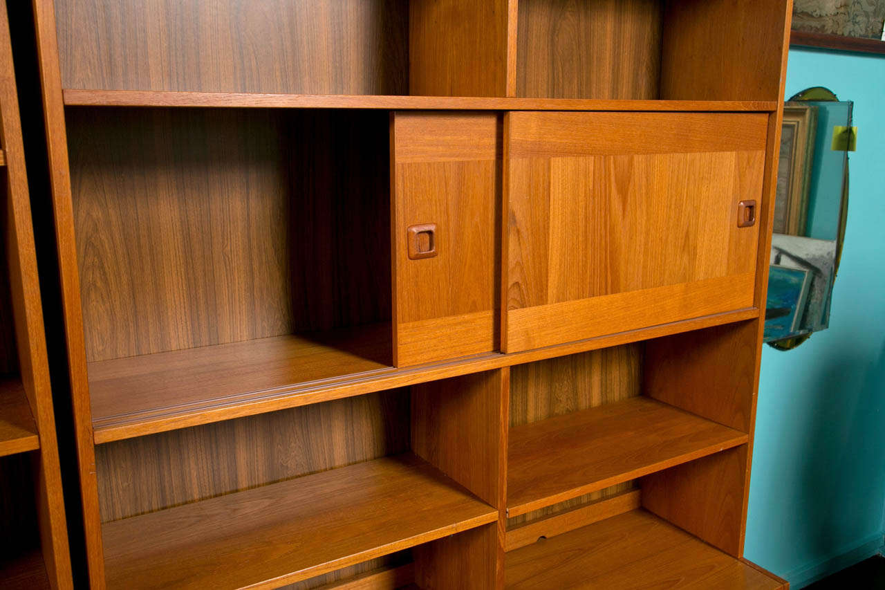 Mid Century Danish Modern Teak Wall Units by Domino Mobler at 1stdibs