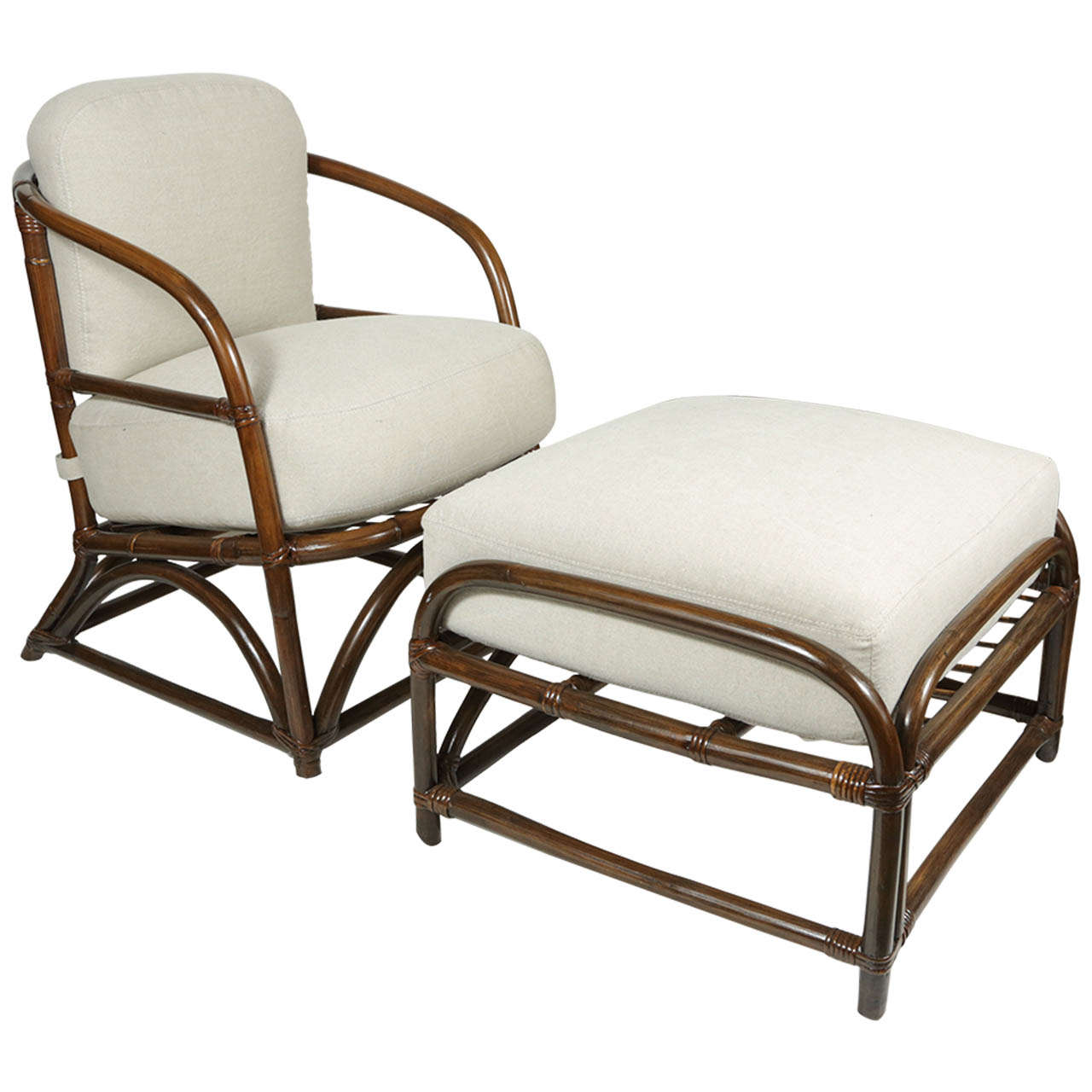 rattan club chair with ottoman at 1stdibs. Black Bedroom Furniture Sets. Home Design Ideas