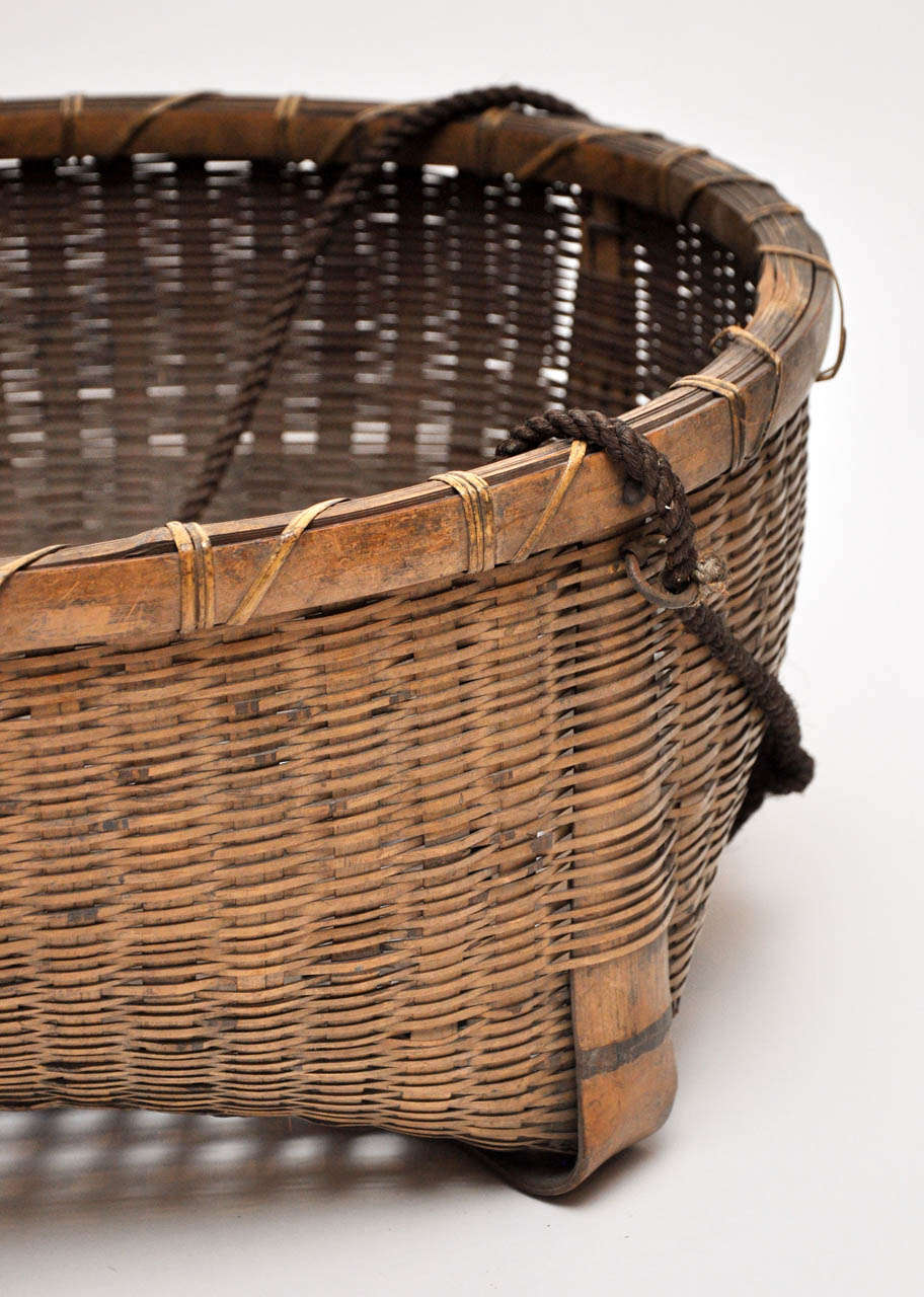 Reed 20th Century Japanese Fishing Basket For Sale