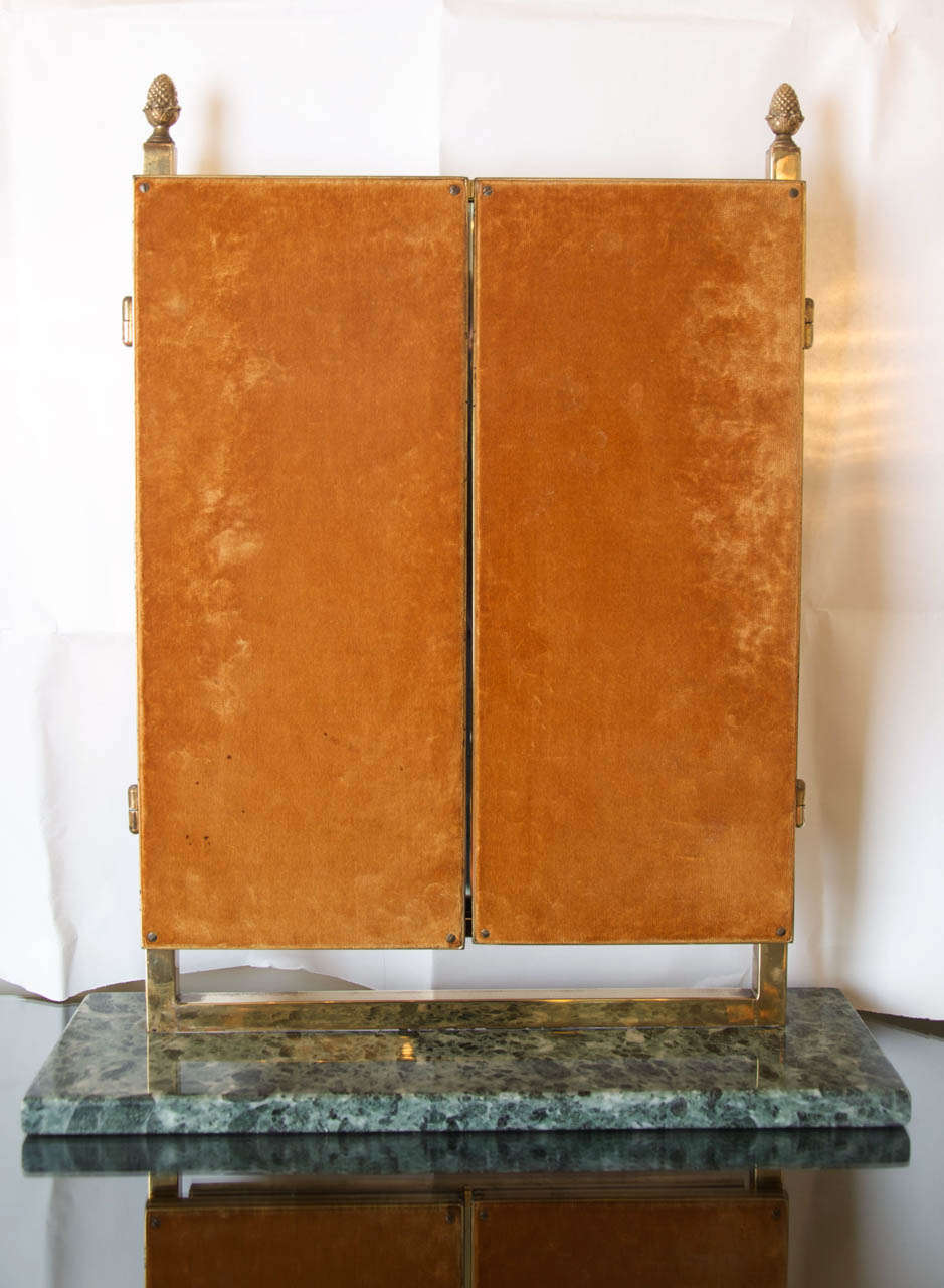 1950s English Brass Triptych Dressing Table Mirror At 1stdibs