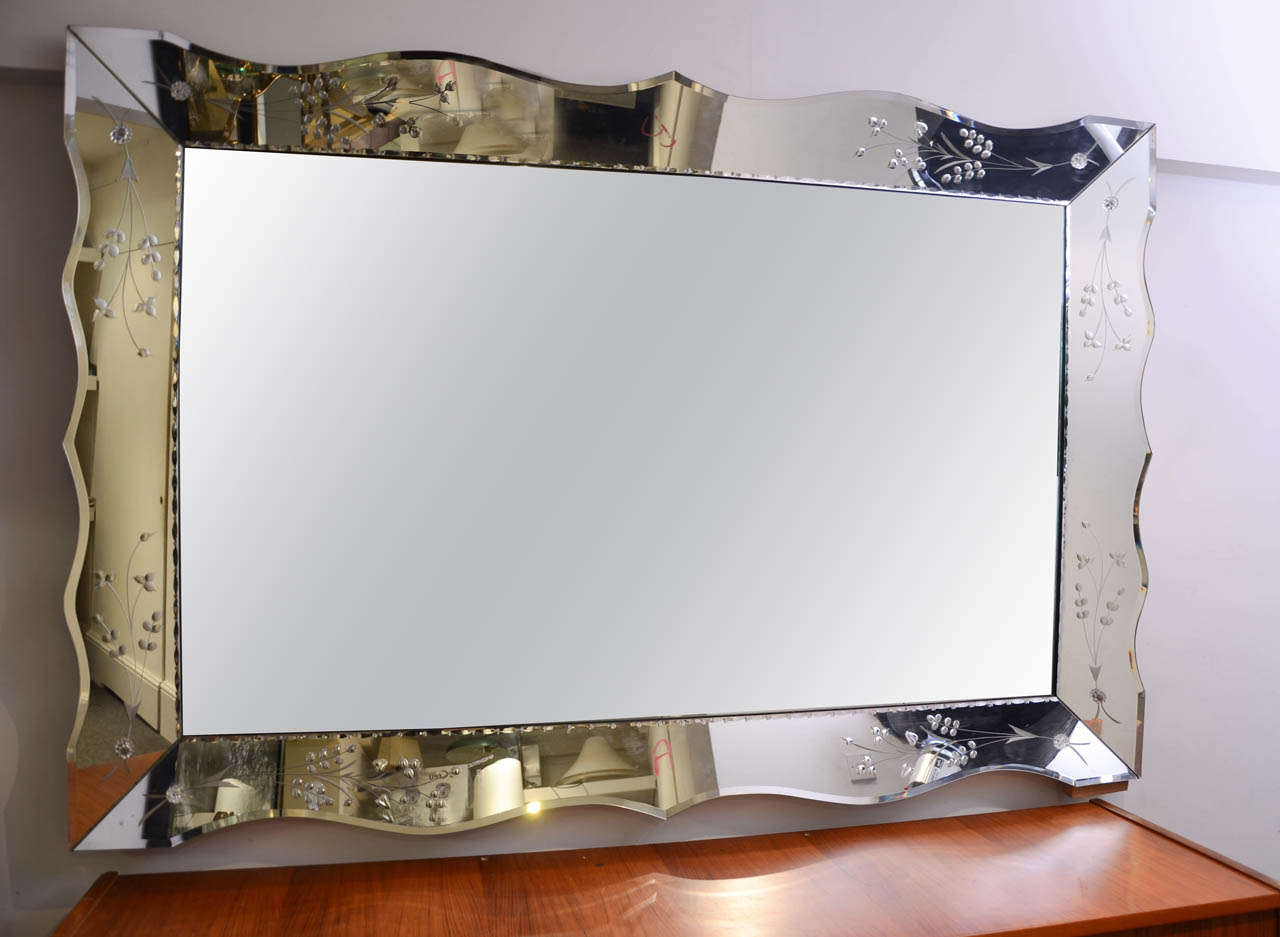 Large Rectangular Wall Mirror 1950s american large rectangular etched mirror for sale at 1stdibs