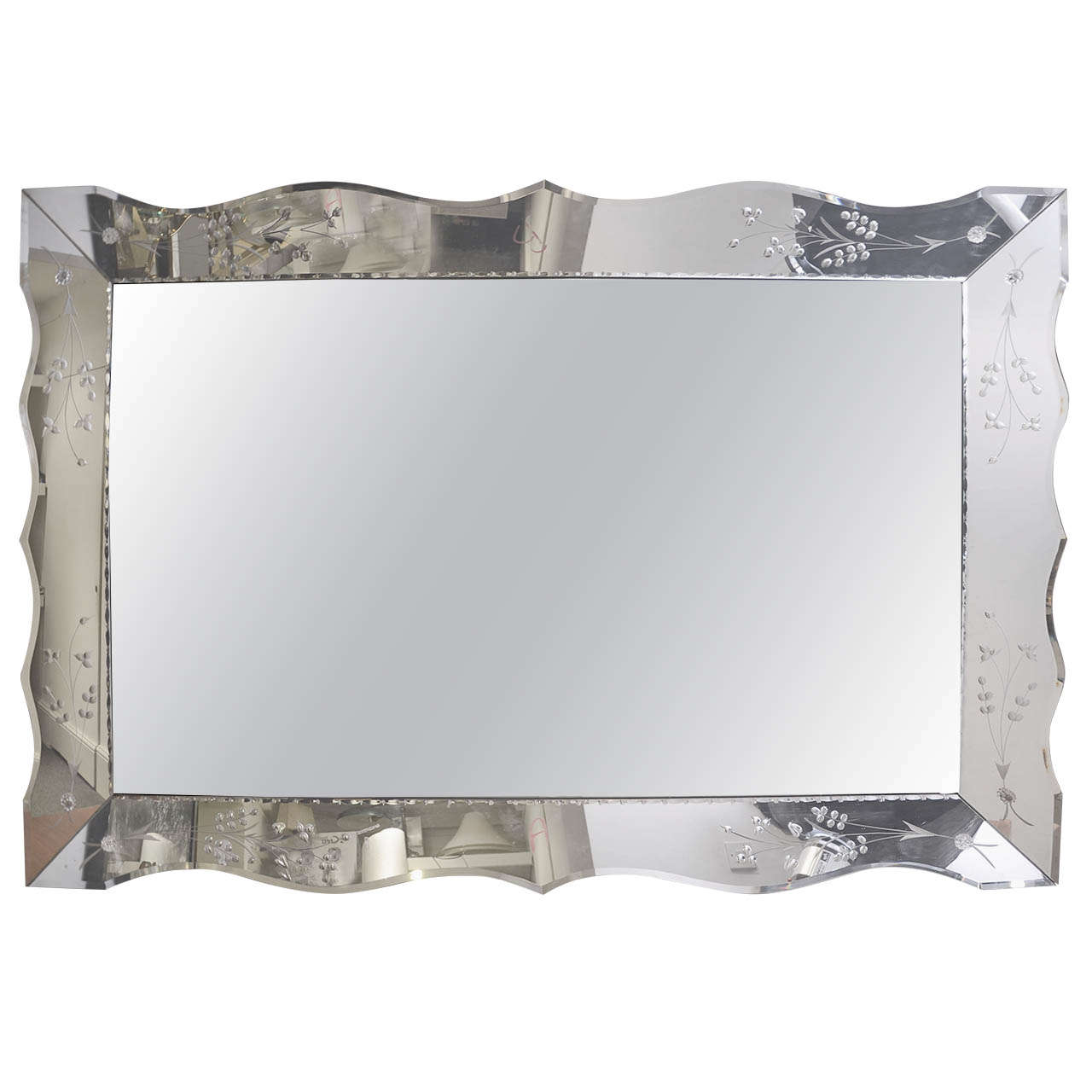 1950s American Large Rectangular Etched Mirror For