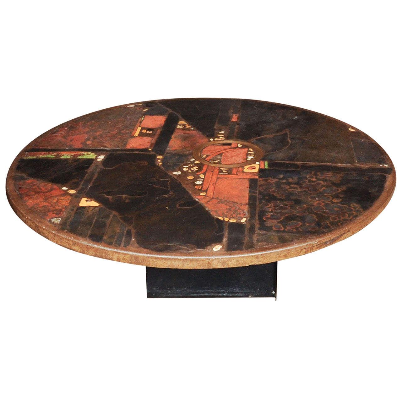 Large Slate Stone Coffee Table By Paul Kingma Signed Kingma 1981 At 1stdibs