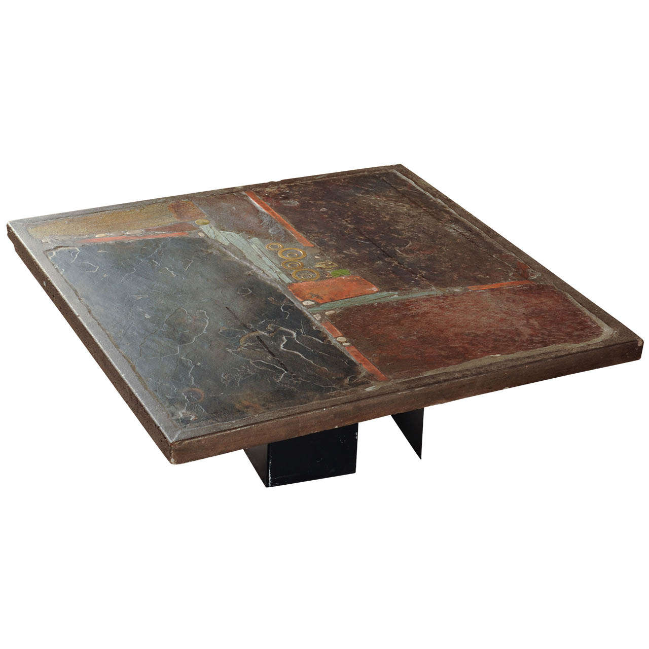 Slate stone square coffee table by paul kingma signed Stone coffee table