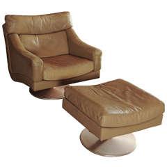 Wonderful Set Of Swiss Made Lounge Chair + Hocker