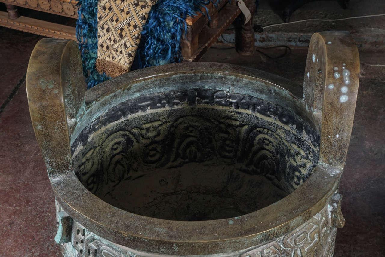 Chinese Monumental Bronze Urn Modeled on the Da Ke King, 10th Century BC, circa 1940 For Sale