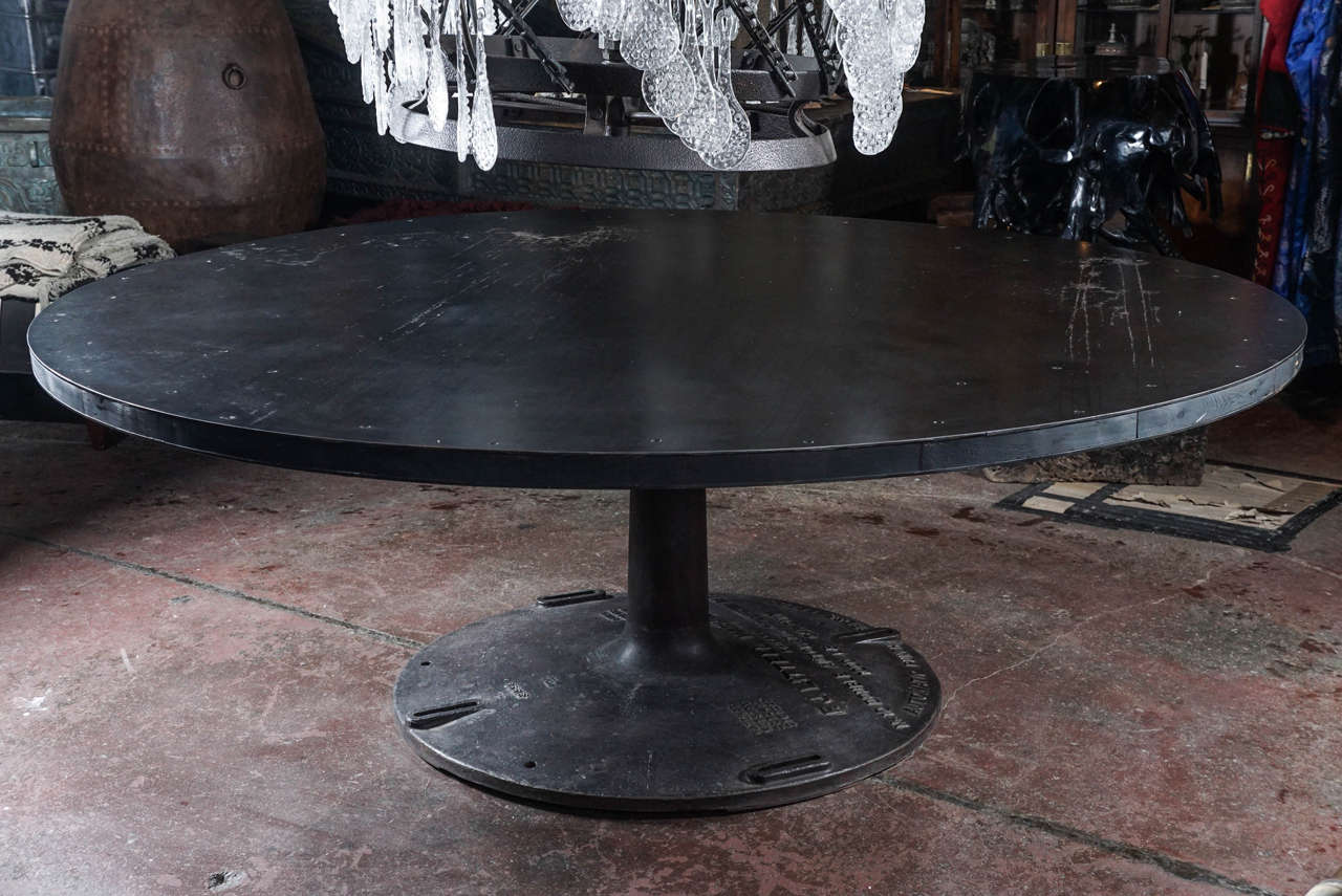Large Round Steel Dining Table For Contemporary And Wood Top Married To A Salvaged Machine Base From The F J Little