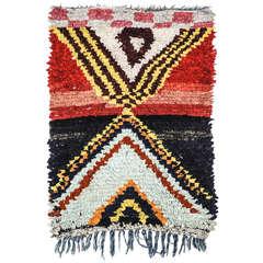 Dramatic Berber Boucherouite Rug