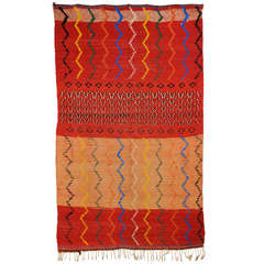 Mid-Century Modern Graphic Moroccan Berber Rug