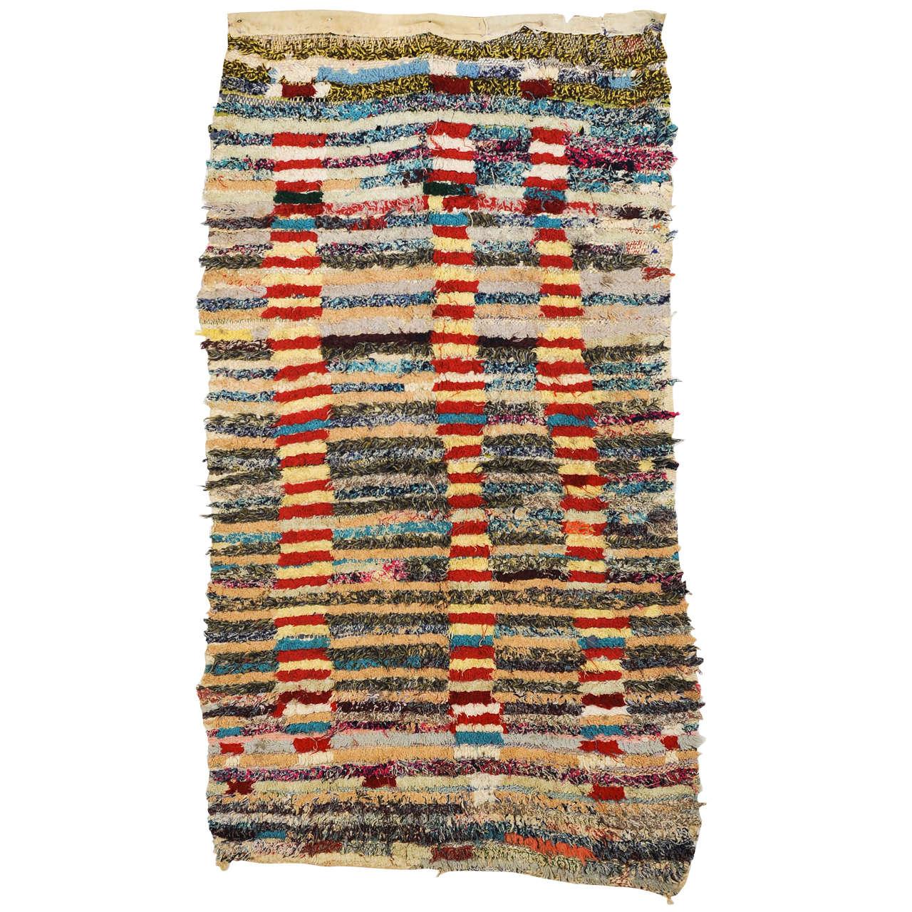 Abstract Moroccan Berber Boucherouite Rug
