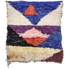 Unusual Moroccan Berber Boucherouite Rug