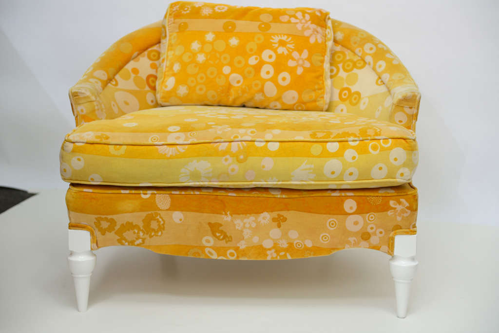 Jack Lenor Larsen Velvet Mod 60s Club Chair At 1stdibs