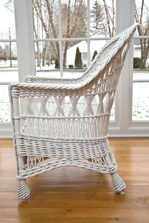 Antique Wicker Triple Cross Bar Harbor Chair For Sale At