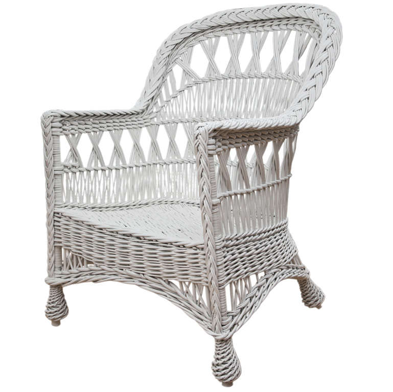 Antique Wicker Triple Cross Bar Harbor Chair At 1stdibs