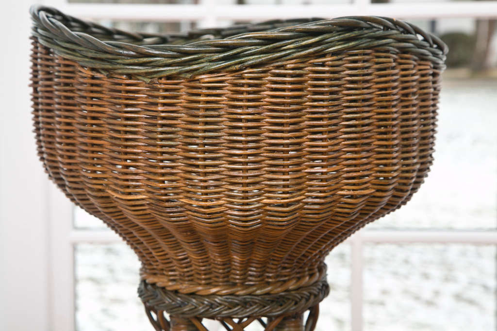 American Tall Wicker Planter For Sale
