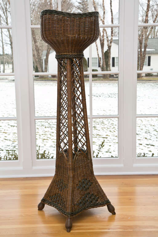 20th Century Tall Wicker Planter For Sale