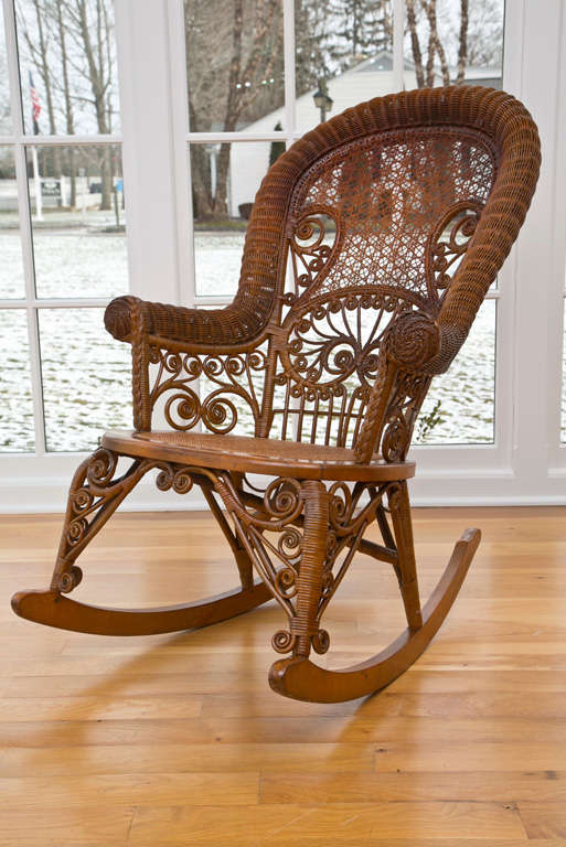 Antique Victorian Wicker Rocker For Sale 4
